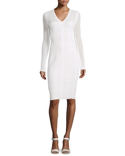 Long-Sleeve V-Neck Grid Dress