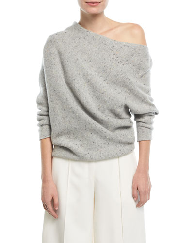 Knit One-Shoulder Speckled Wool/Cashmere Top