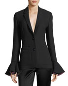 Two-Button Flute-Cuffs Slim-Fit Crepe Blazer