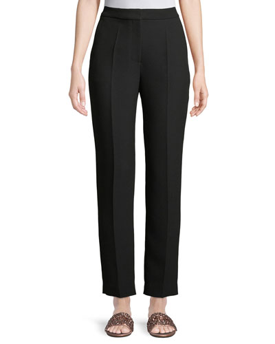 High-Rise Straight-Leg Crepe Pants
