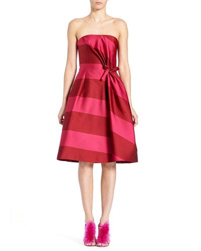 Strapless Wide-Stripe Cocktail Dress
