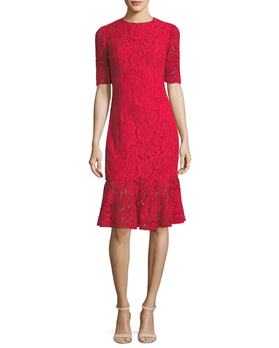 Elbow-Sleeve Lace Flared-Hem Cocktail Dress