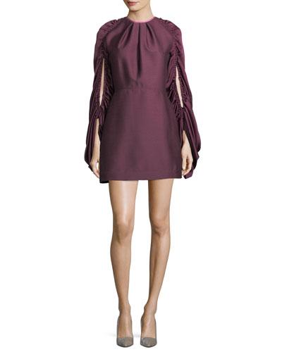 Short Drawstring-Sleeve Dress