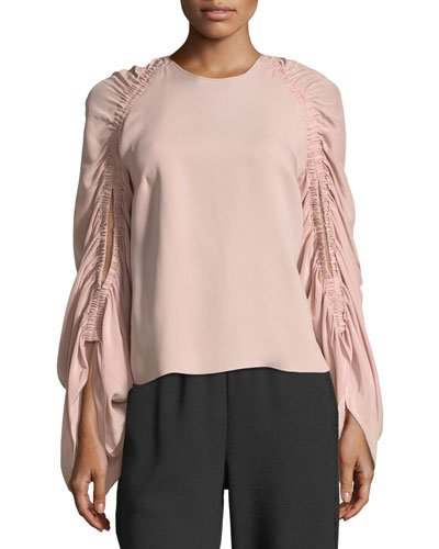Round-Neck Ruched-Sleeve Silk Top