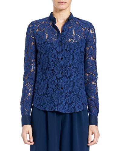 Floral-Lace Button-Front Blouse