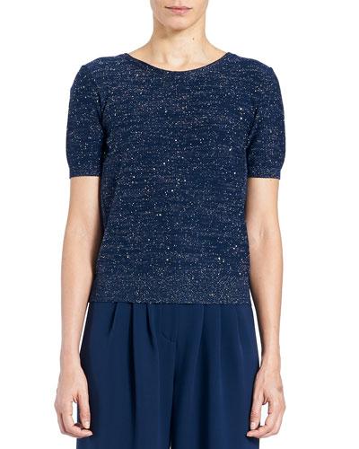 Lurex® Crewneck Tieback Short-Sleeve Sweater