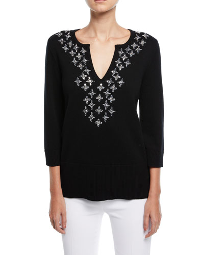 V-Neck Embellished Cashmere Tunic Top