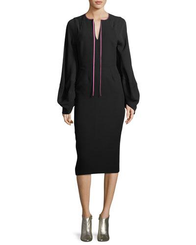 Split-Neck Balloon-Sleeve Straight Crepe Midi Dress