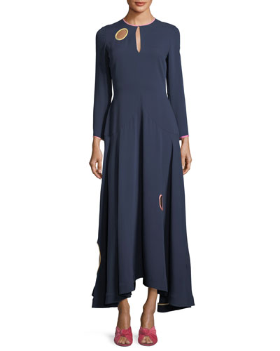 Long-Sleeve Circle-Cutout Midi Dress