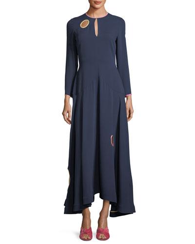 Long-Sleeve Circle-Cutout Midi Dress