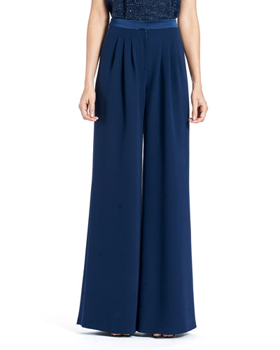 Wide-Leg Double-Face Georgette Silk Pants