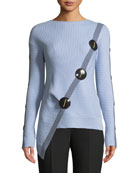 Long-Sleeve Wool-Cashmere Sweater with Asymmetric Button Detail