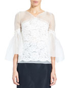 Organza Lace V-Neck Blouse with Full Sleeves