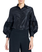 Button-Front Full-Sleeve Taffeta Blouse with Lace Inset