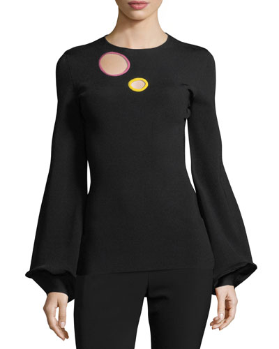 High-Neck Bell-Sleeve Crepe Top with Cutout Circle