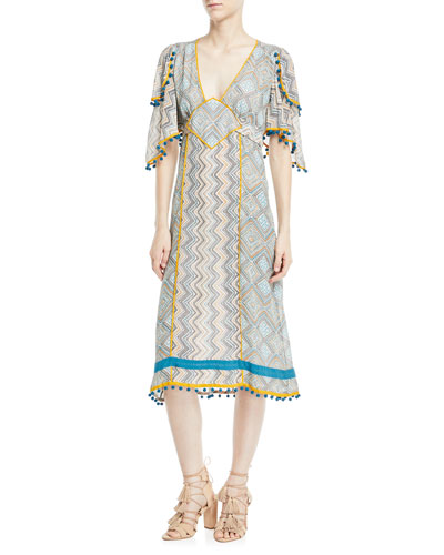 Deep-V Kimono-Sleeve Printed A-Line Midi Dress
