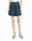 Jeweled Embroidery High-Waist Cotton Twill Shorts