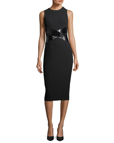 X-Paillette Sleeveless Sheath Stretch-Boucle Dress
