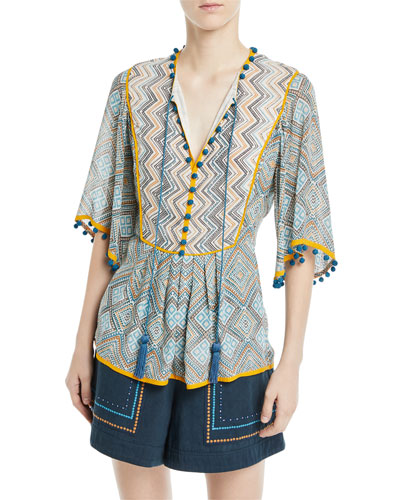 Three-Quarter Flutter Sleeve Printed Lace-Up Tunic