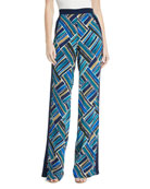 Painted-Print Wide-Leg Pull-On Pants