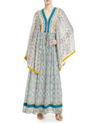 Jasmin Lace-Up Front Long Kimono Silk Caftan with Pompom Trim