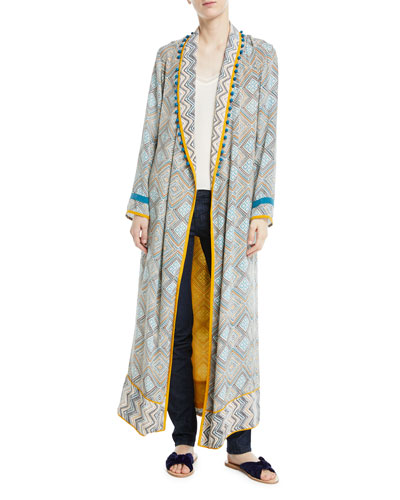 TALITHA Maghreb Pompom-Embellished Printed Silk Crepe De Chine Robe in Blue Multi