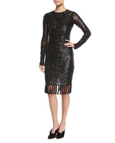 Jewel-Neck Embellished Sequin Cocktail Dress w/ Tassel Hem