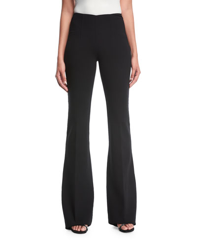 Flare-Leg Pebble Crepe Trousers