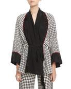 Silk Scarf-Print Short Belted Robe