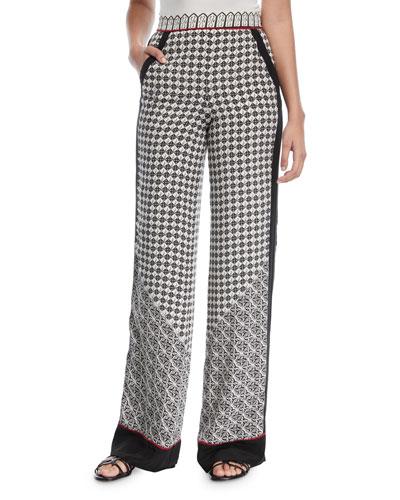 Scarf-Print Wide-Leg Silk Pants