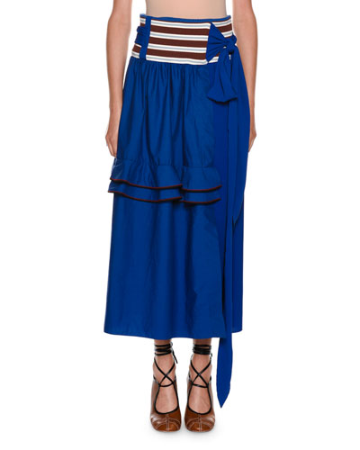 Mixed-Media A-Line Poplin Silk Skirt w/ Ruffled Frills