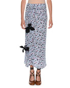 Dot-Print Straight Silk Woven Skirt w/ Appliques
