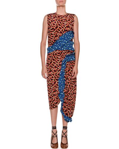 Sleeveless Contrast Ruffle Fitted Sheath Dress