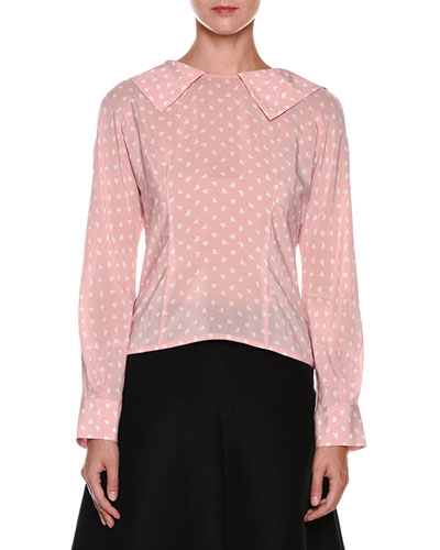 Long-Sleeve Zip-Back Silk Blouse