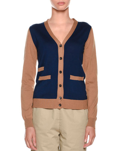 V-Neck Colorblock Button-Front Knit Cardigan