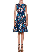 Sleeveless A-Line Floral-Print Poplin Dress