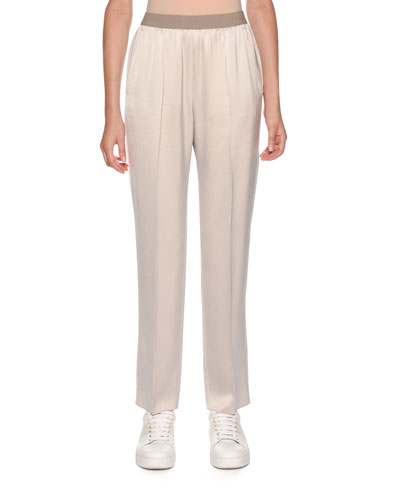 Elastic-Waist Pull-On Tapered-Leg Pants