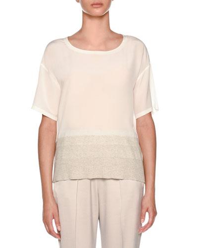 Round-Neck Short-Sleeve Silk Top