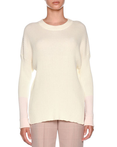Crewneck Long-Sleeve Rib-Knit Cotton-Cashmere Sweater