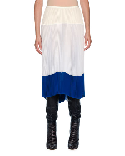 Pleated Silk Midi Skirt with Colorblock Hem