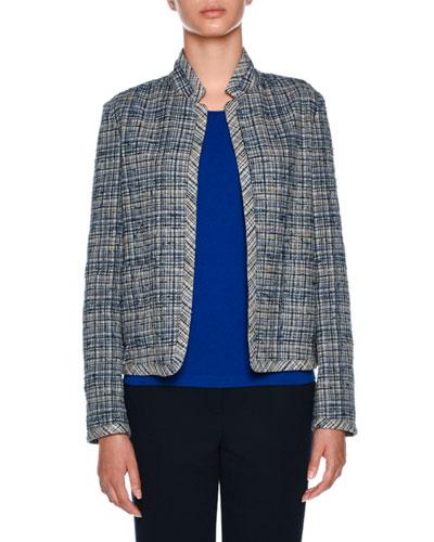 Tweed Open-Front Boxy Blazer