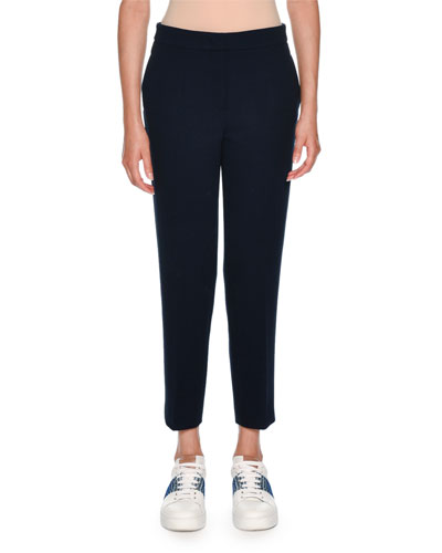 Double Wool Crepe Slim Pant