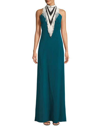 Mock-Neck Sleeveless Beaded Halter Silk Evening Gown