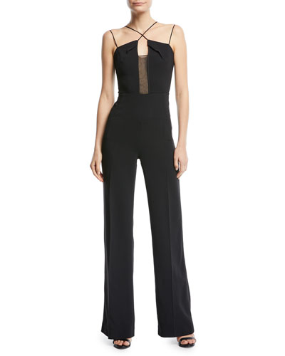 Malvern Crisscross-Neck Sleeveless Wide-Leg Jumpsuit