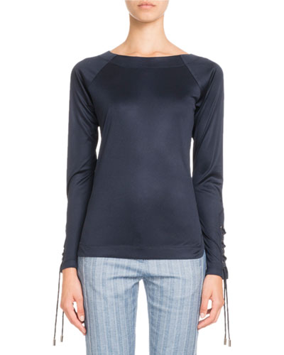 Long-Sleeve Lace-Up Fitted Jersey Top