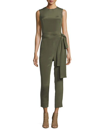 Jewel-Neck Sleeveless Straight-Leg Belted Jumpsuit