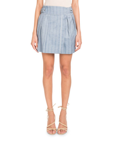 Striped Cotton A-line Mini Skirt
