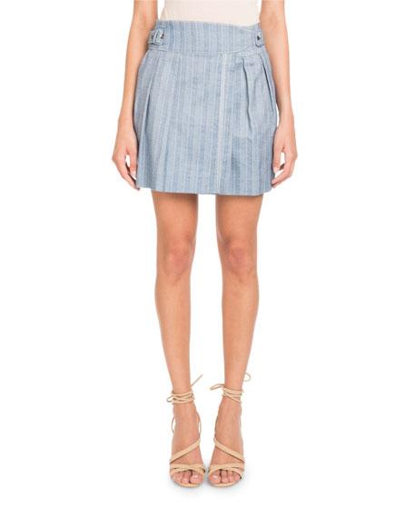 Pascal Millet Striped Cotton A-line Mini Skirt
