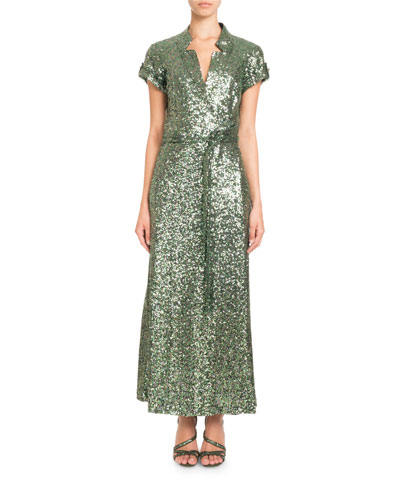 PASCAL MILLET Short-Sleeve Notched-Collar Sequin Wrap Evening Gown in Green Metallic