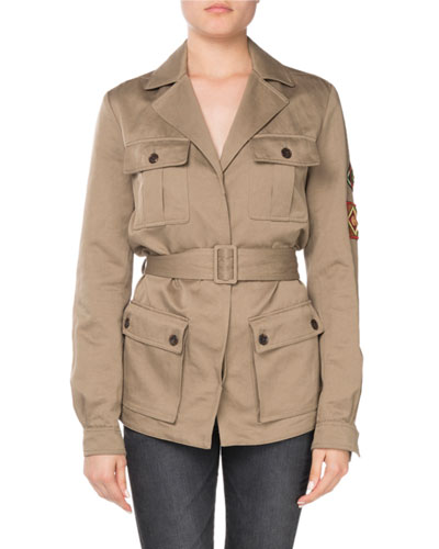 Notched-Collar Four-Pocket Belted Safari Jacket with Patches
